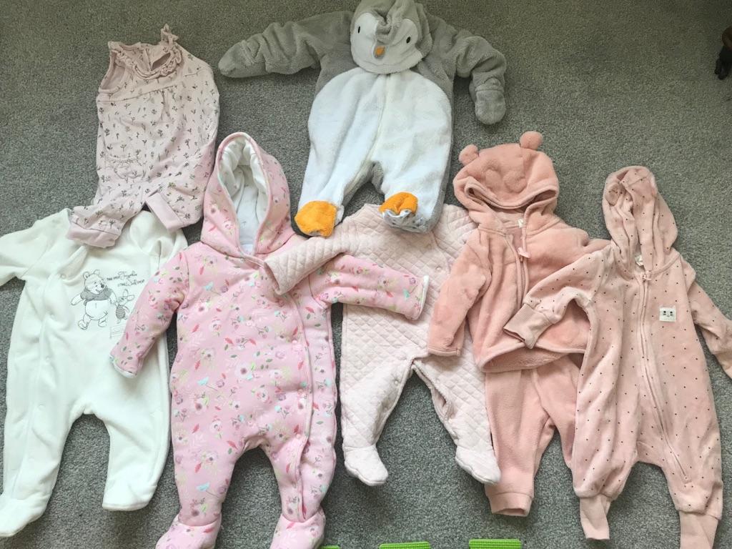 10-piece baby girl newborn pramsuit & sleepsuit bundle