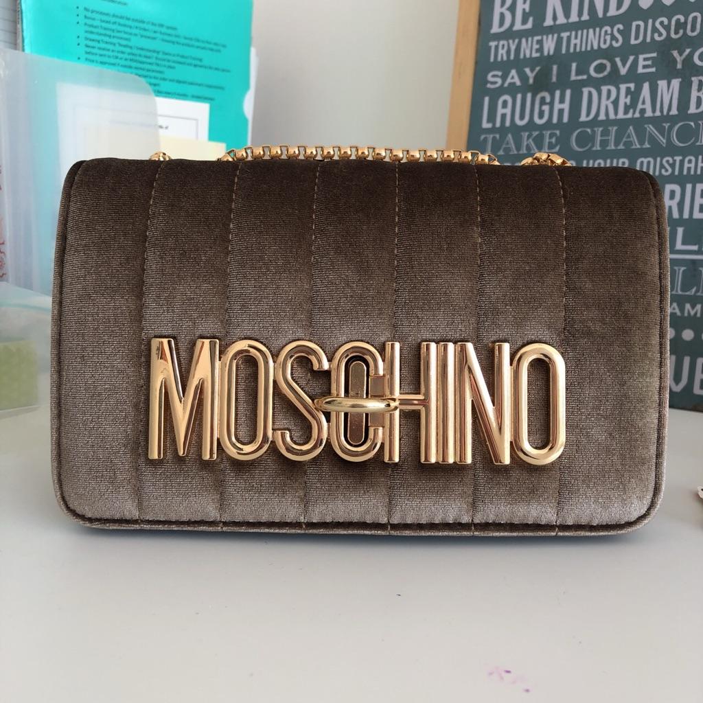 Moschino Style Gold Velvet Velour Handbag Clutch Shoulder Bag
