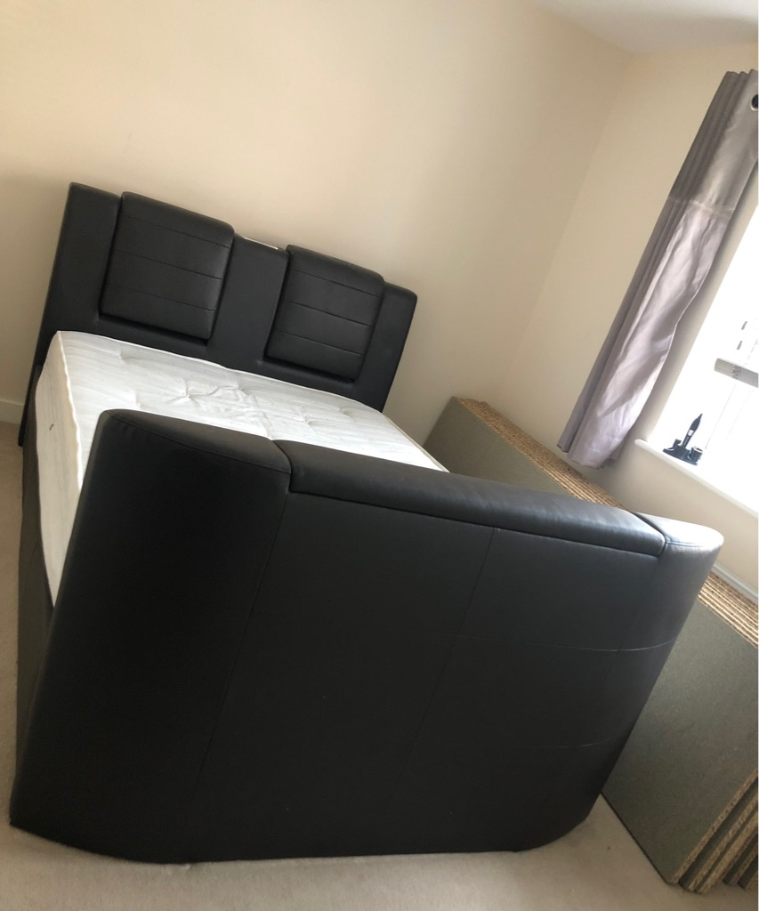 Double leather TV and Bluetooth bed