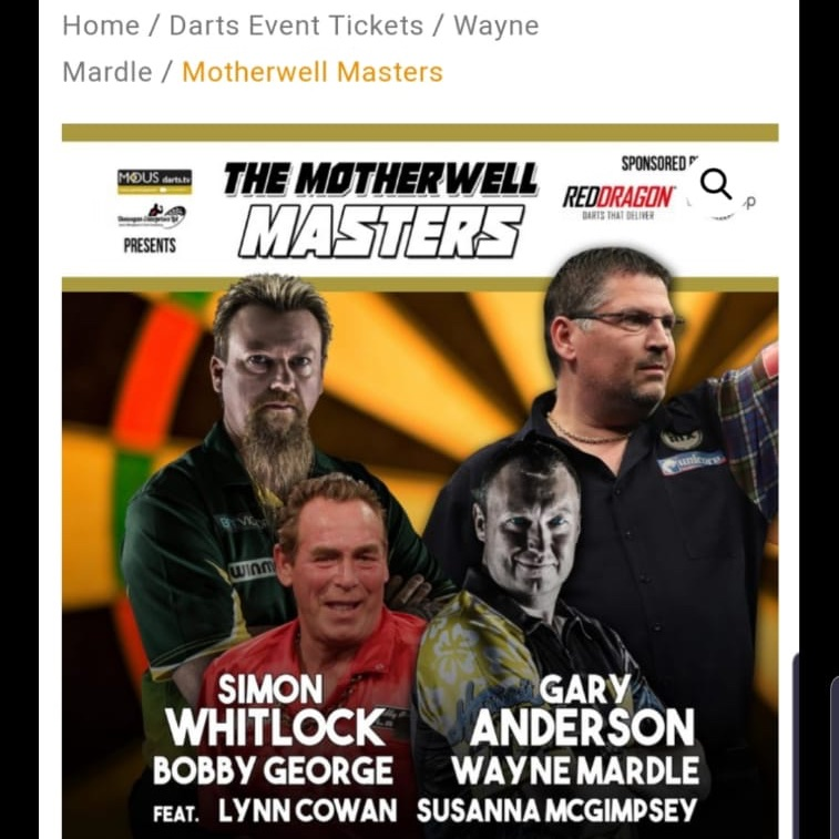 Motherwell masters darts tickets 17th May