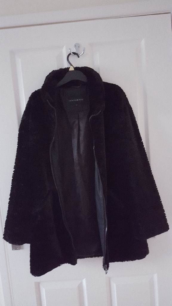 Centigrade zip faux fur coat