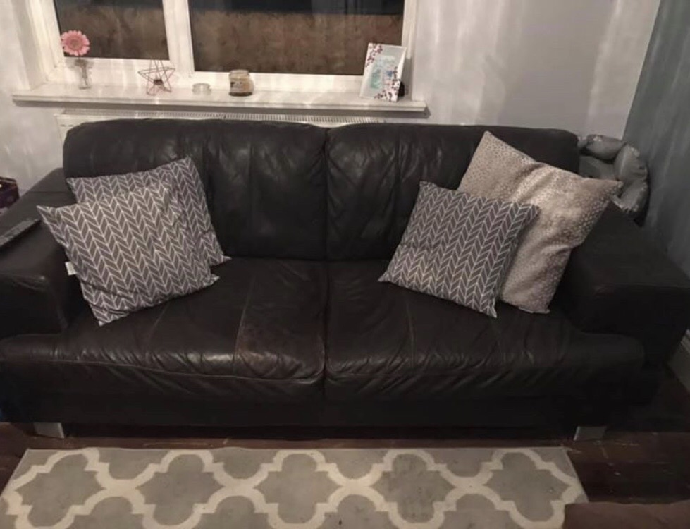 2 piece brown leather sofa