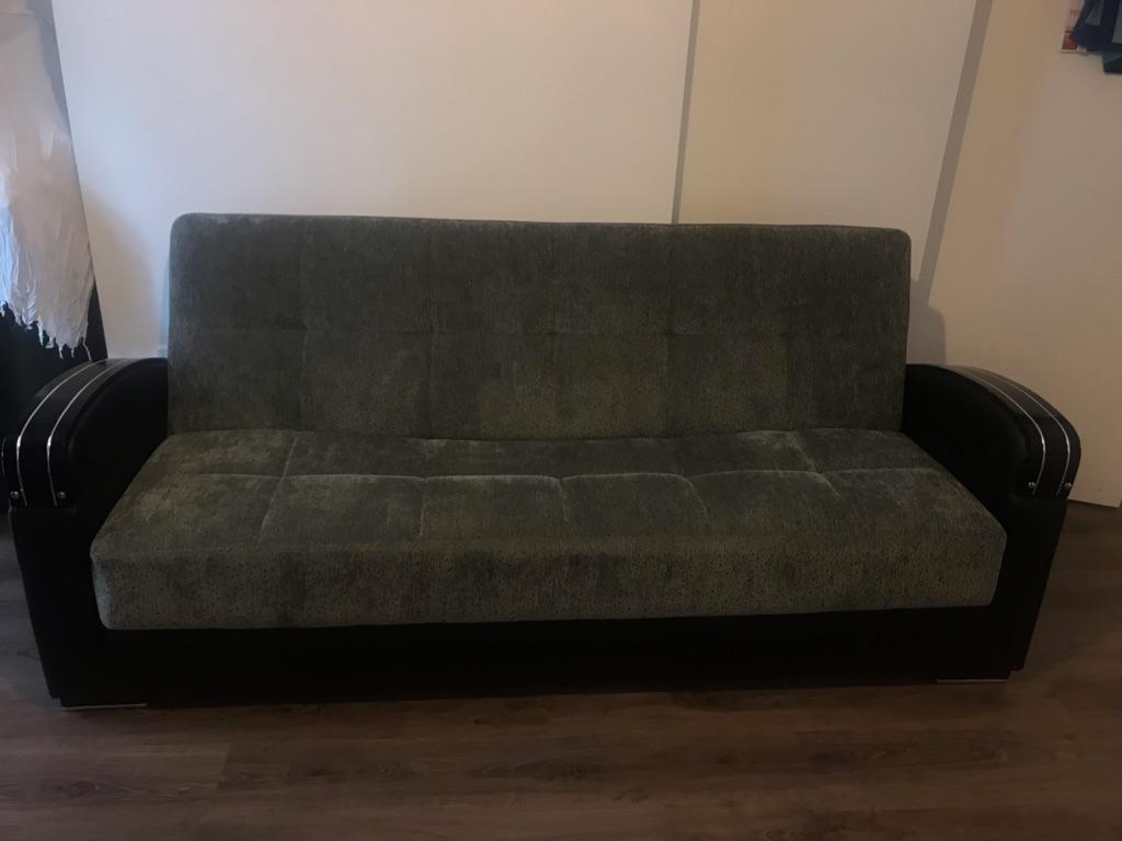 Velvet grey sofa bed