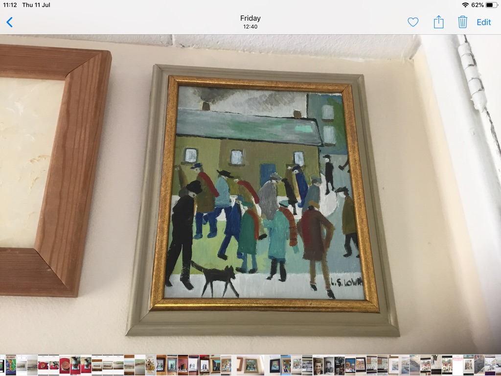 Oil painting on canvas signed after L S Lowry H12in W10in