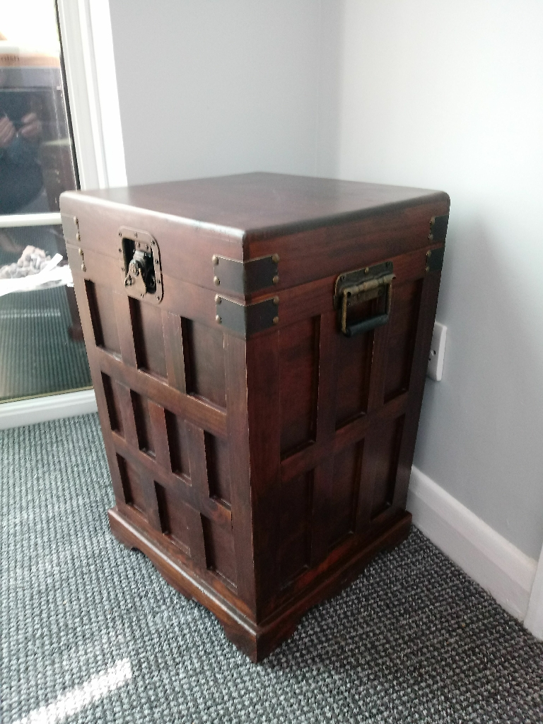 Walnut chest/lamp table