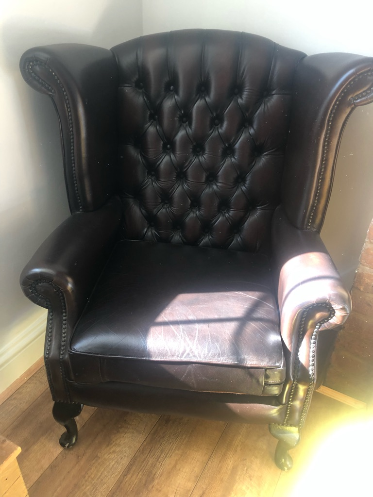 Chesterfield brown leather chair