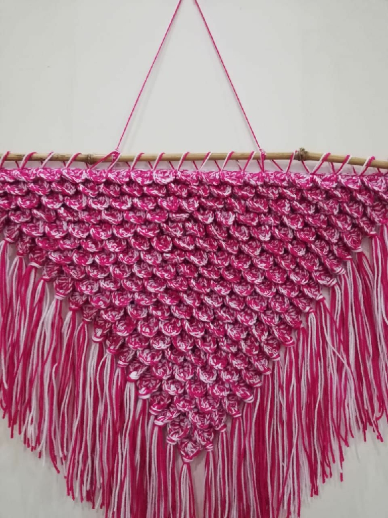 White and pink variengated crochet mermaid scales wall hanging with tassels