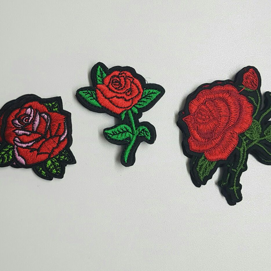 3 Red rose Patch Set (Sew On)