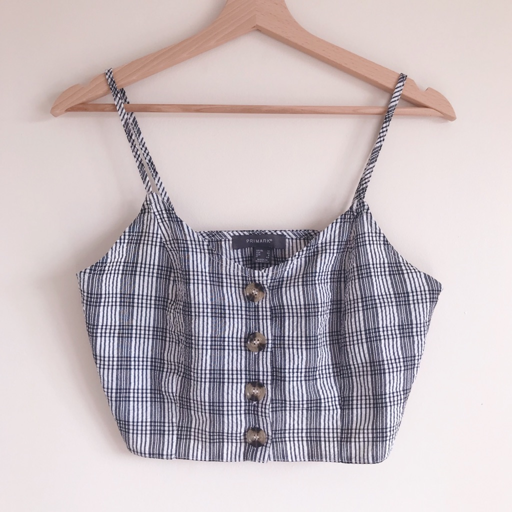 Primark White and Black Gingham Crop Top with Tortoise Shell Buttons