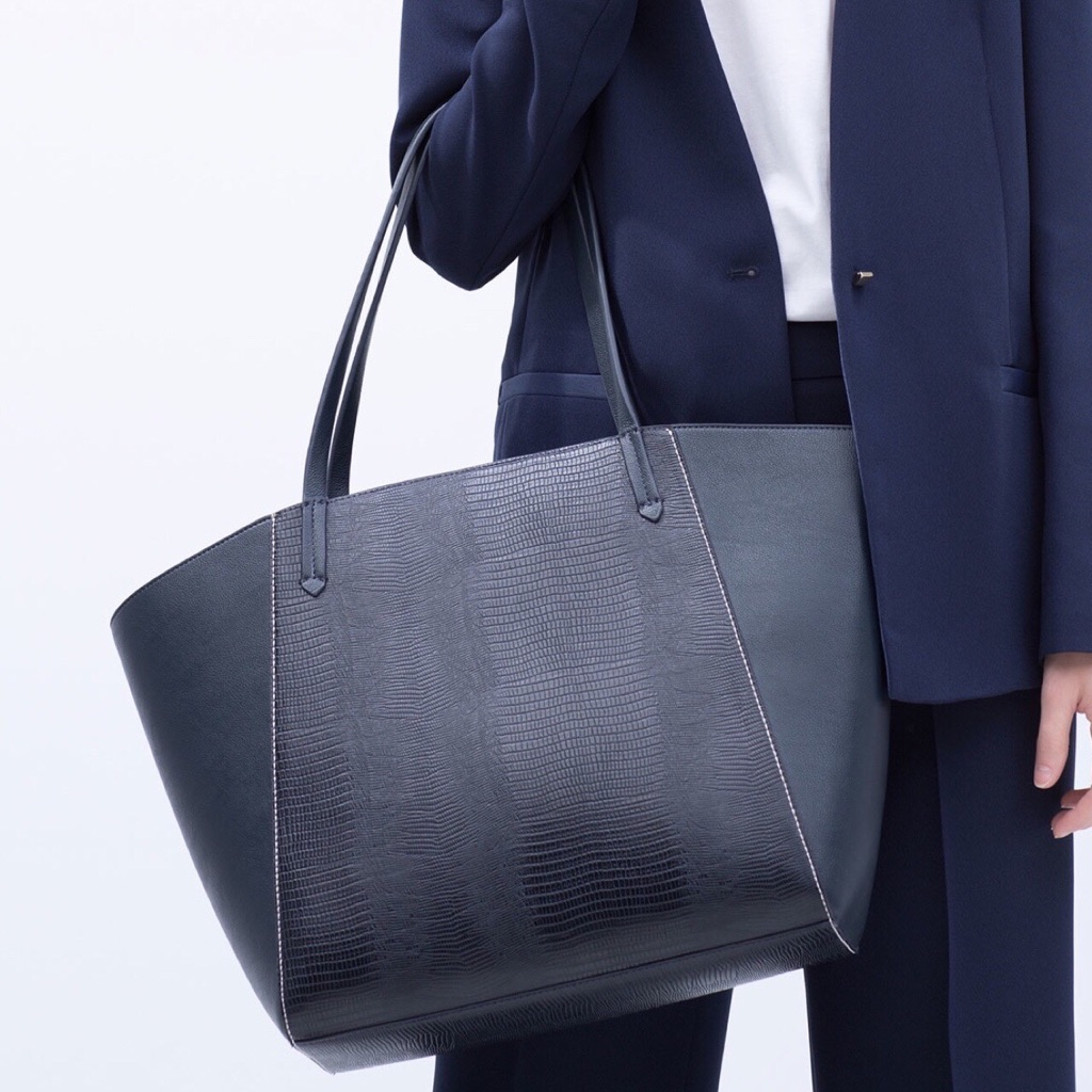 Zara navy blue combined tote bag