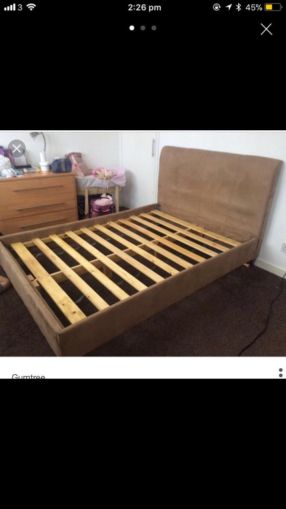 Suede double bed
