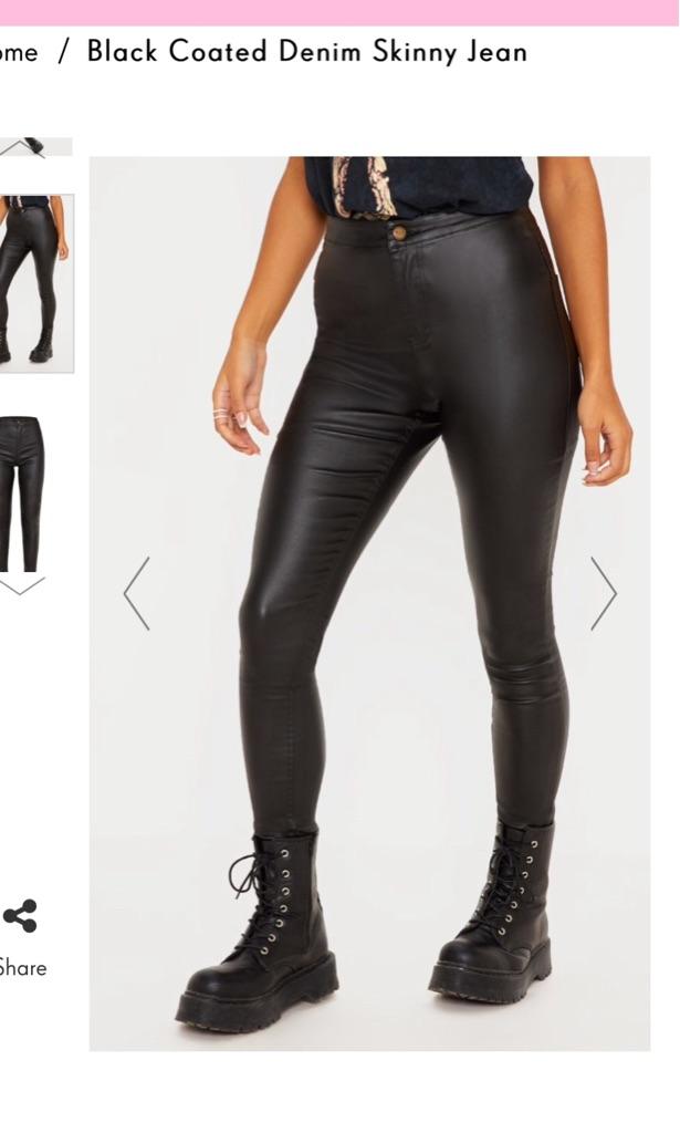 Pretty Little Things Black Coated Denim Jeans