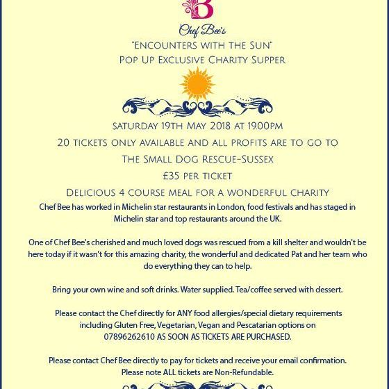 Only 5 tickets are now available for my Charity Secret Supper!