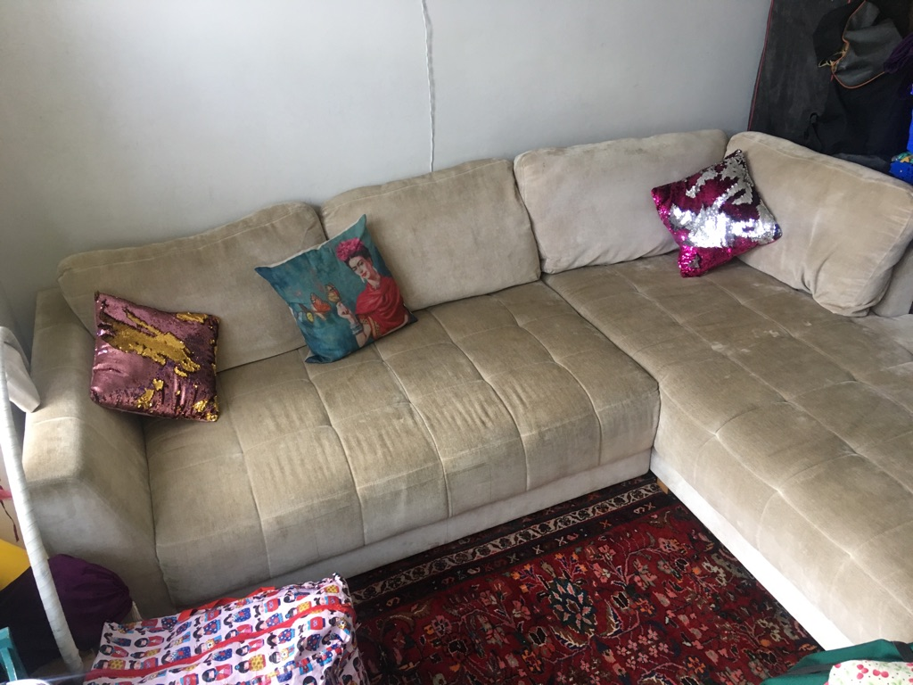 Large Comfy Beige Corner Sofa Village