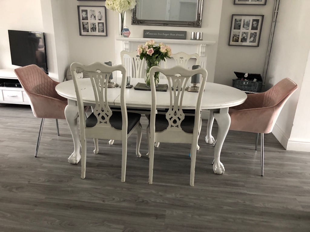 Shabby chic dining table and 6 chairs