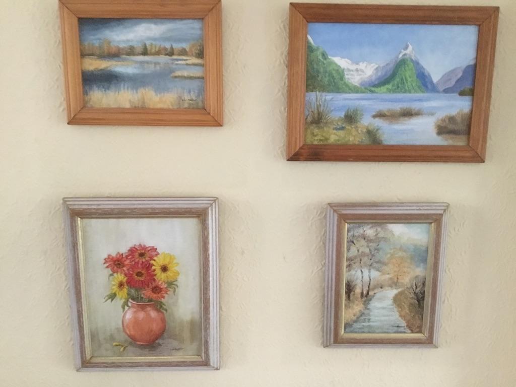 Four original oil paintings in frames