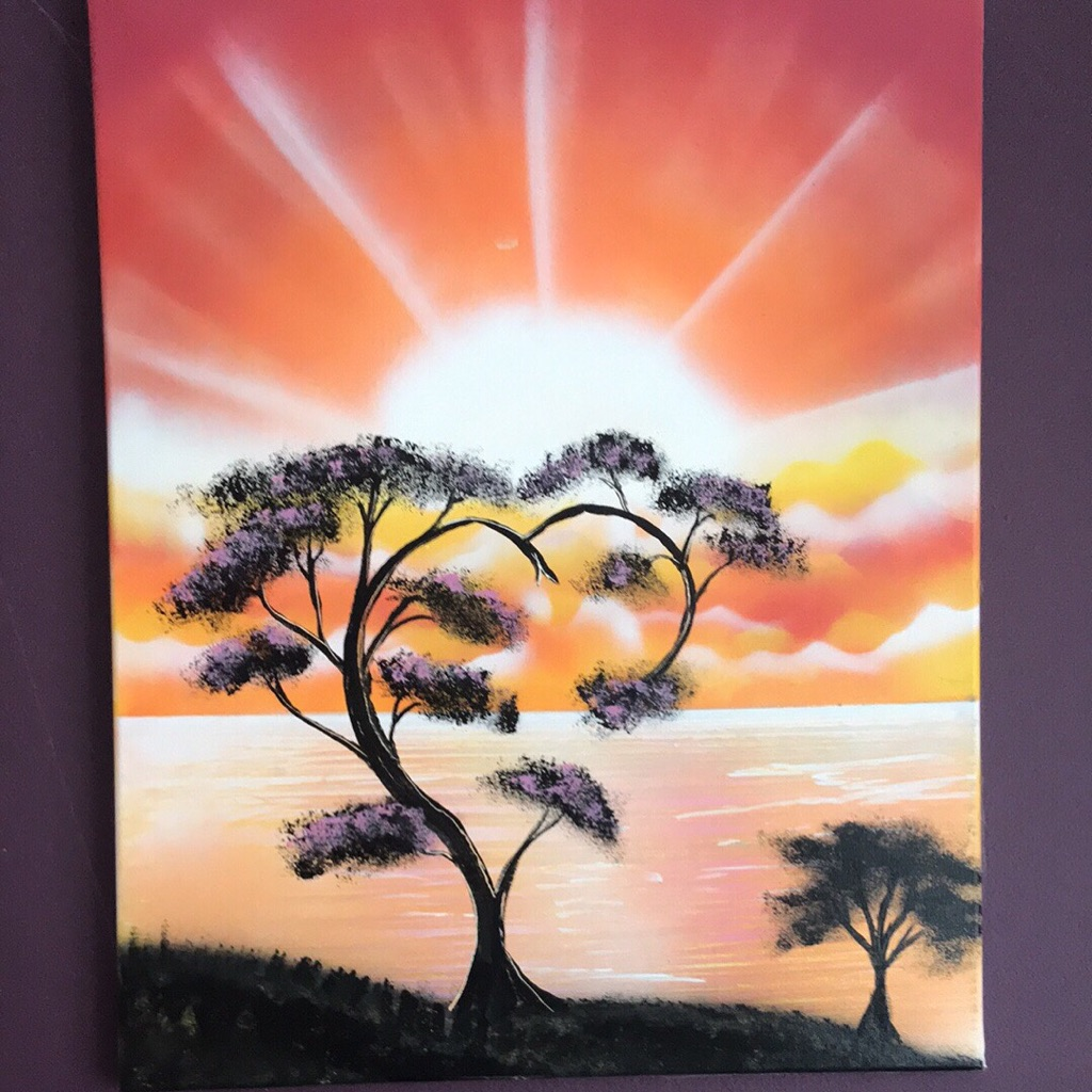 Spray painted tree heart