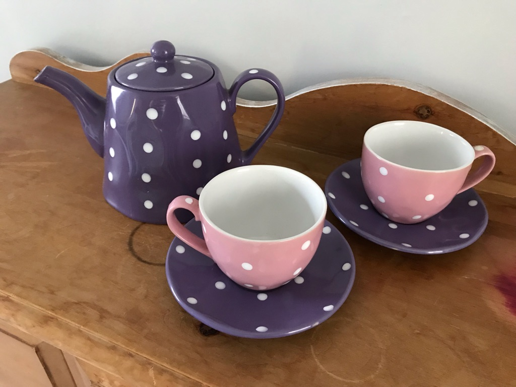 Tea pot with 2 matching cups and saucers