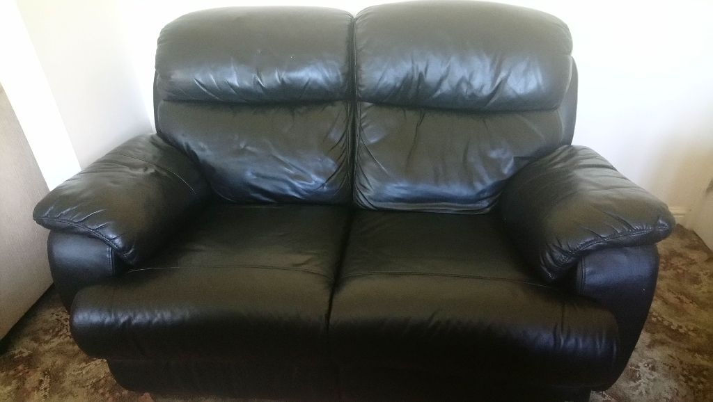 Genuine leather 2 seater reclining sofa