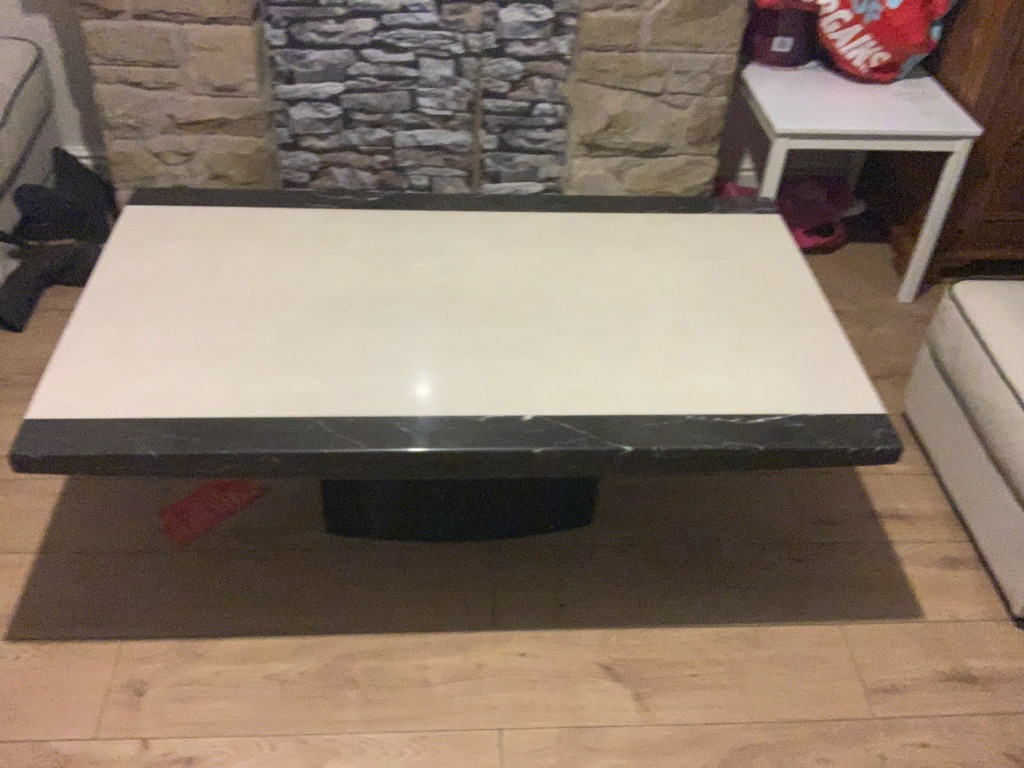Solid chunky marble coffee table