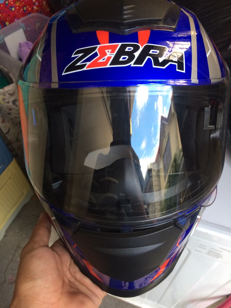 9a653c55 Zebra helmet dual visor   Village