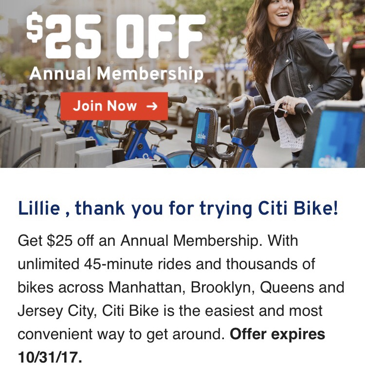 $25 off coupon for CitiBike Year Pass