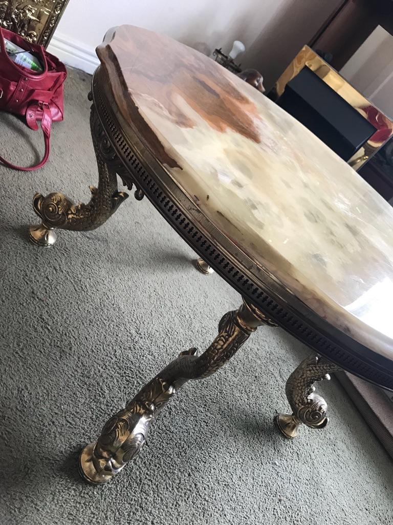 Heavy Italian onyx marble table