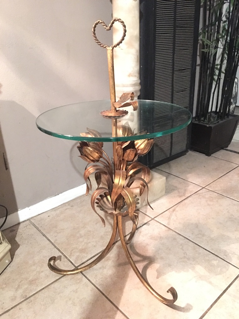 Beautiful vintage glass side table