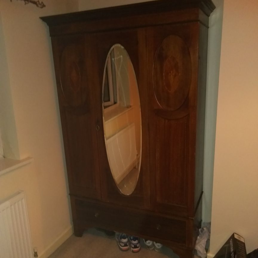 Large vintage wardrobe with lock and mirror
