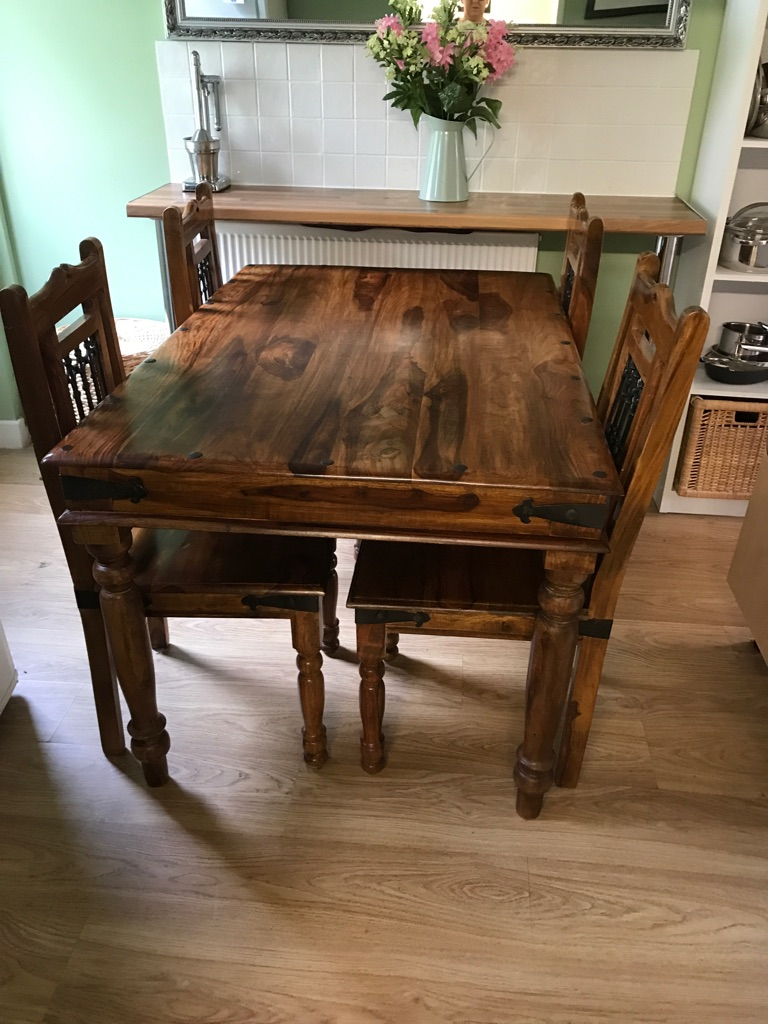 Solid jali wood table and chairs