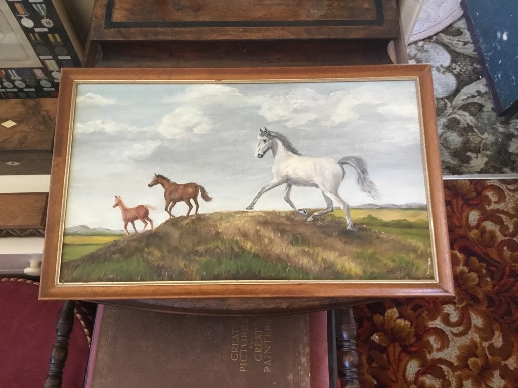 Horses running over exmoor oil on board 14in 24