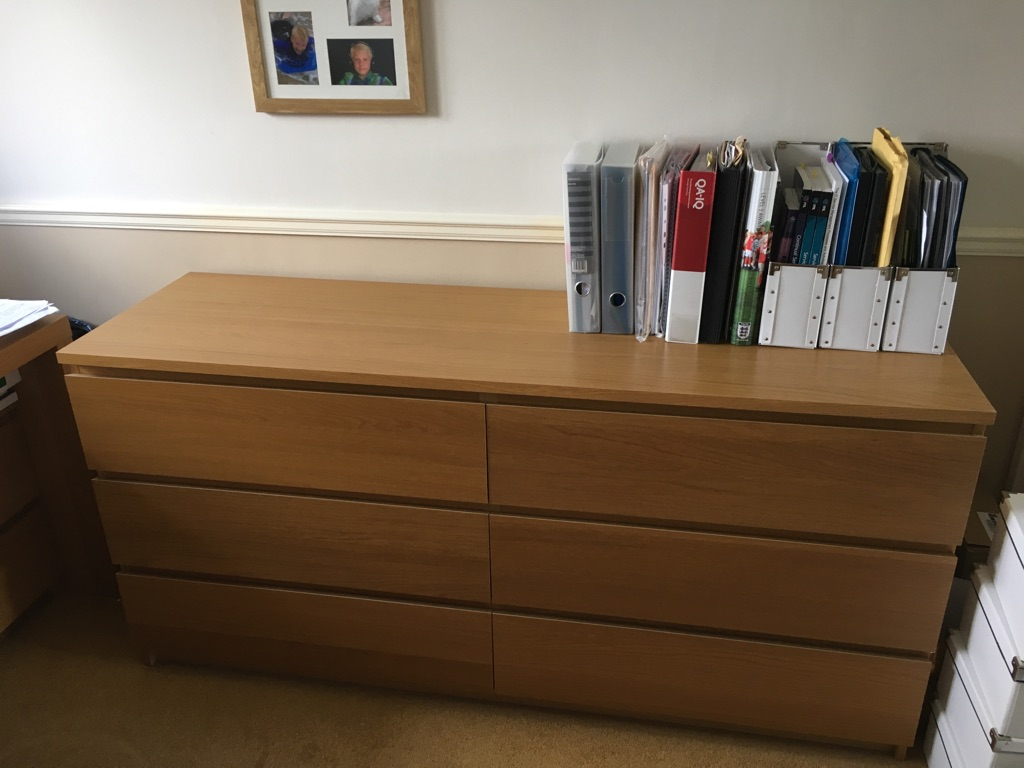 IKEA 6 drawer oak veneer chest