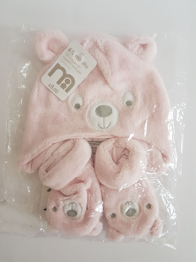 Hat and mitten set from mothercare. 3-6m and 6-12m