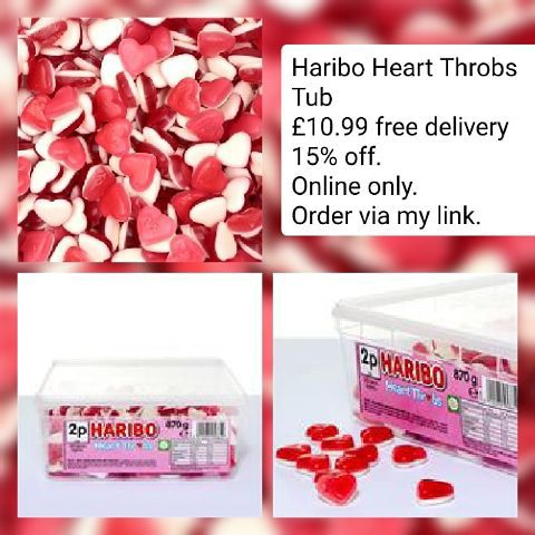 😋Haribo Heart Throbs Tub 💥£10.99 🚚free delivery. 15% off your order.