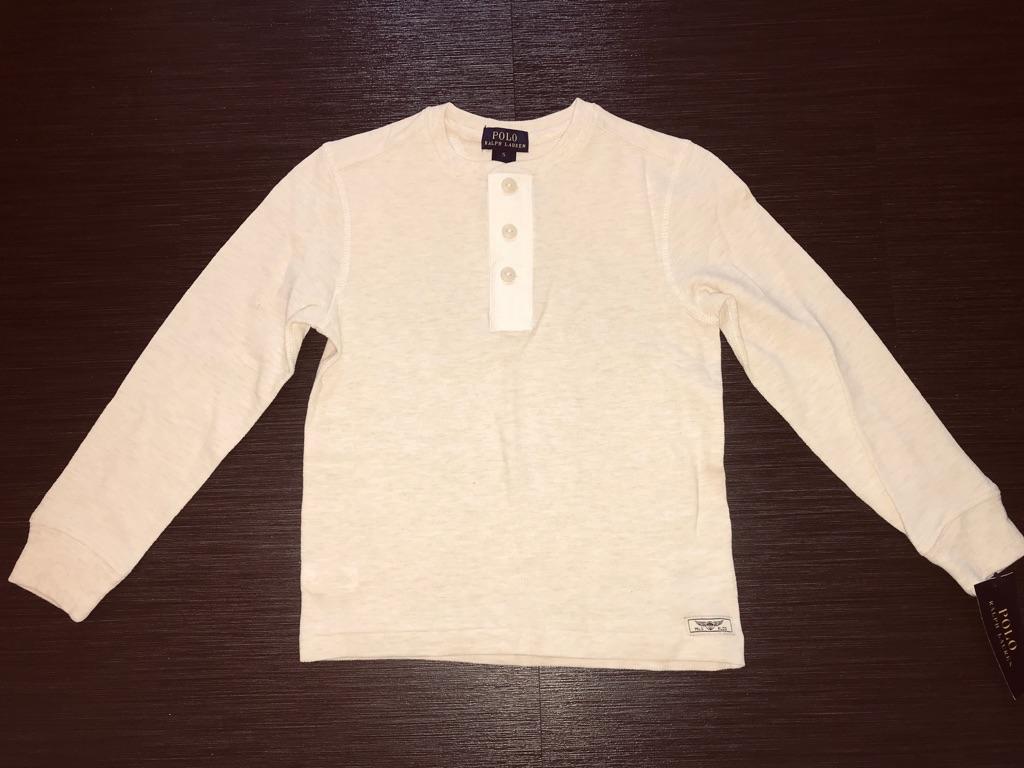 RALPH LAUREN HENLEY Lovely Light Cream Long Sleeve Top Size 3/3T NWT $35