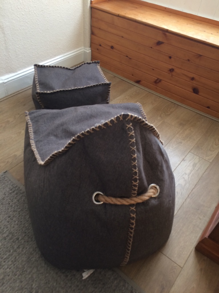 Bean chair with foot stool