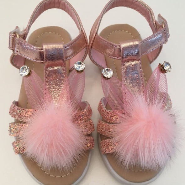 Girls Pom Pom bunny ears sandals