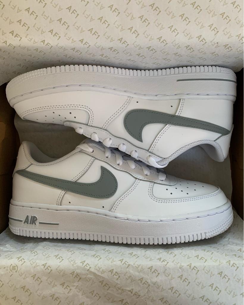 Customised Grey Nike Air Force 1s