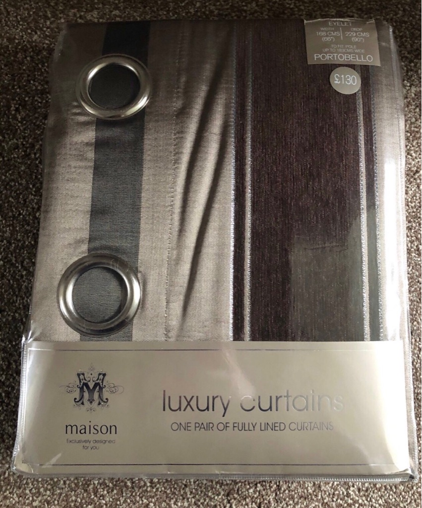 Luxury Curtains Striped red and brown