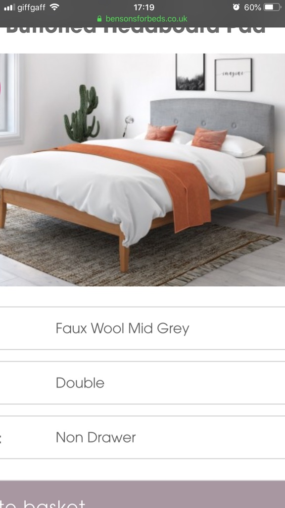 Wood double bed frame with headboard - free double bed mattress