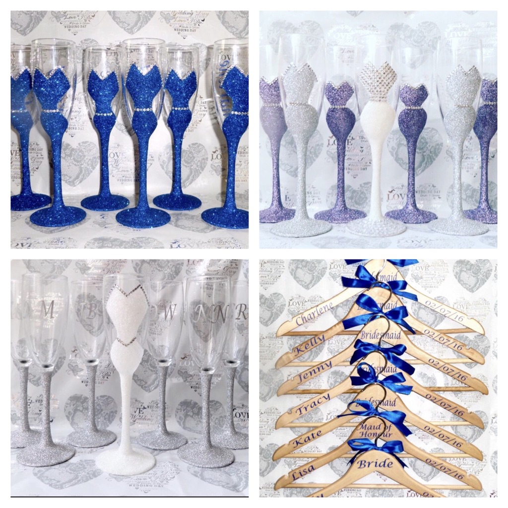 Wedding glasses and wooden hangers