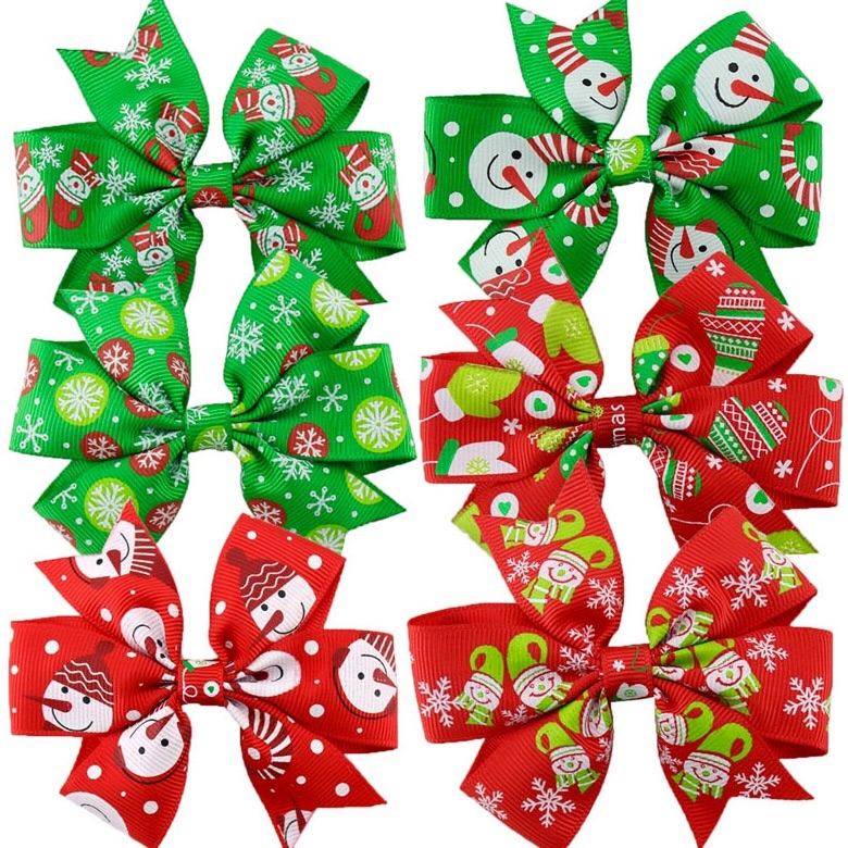 Christmas Baby Bows 3inch Hair Clips