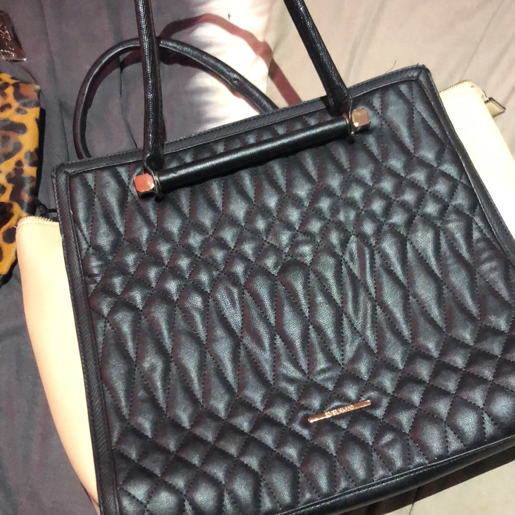 Black and cream river island bag