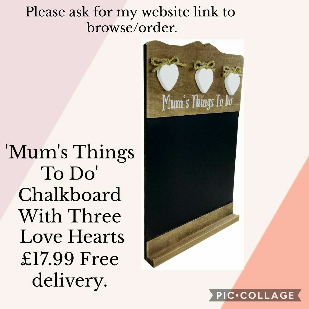 💥'Mum's Things To Do' Chalkboard With Three Love Hearts 💥£17.99 🚛Free shipping