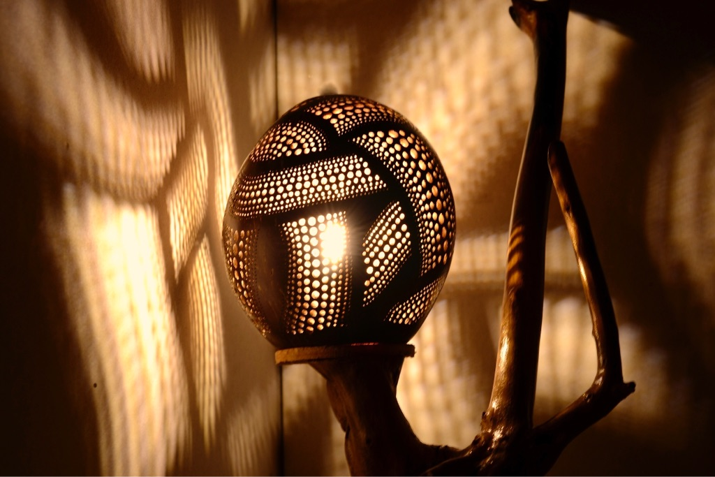 Handcrafted Lamp With Coconut Shell Elder Wood And Stone