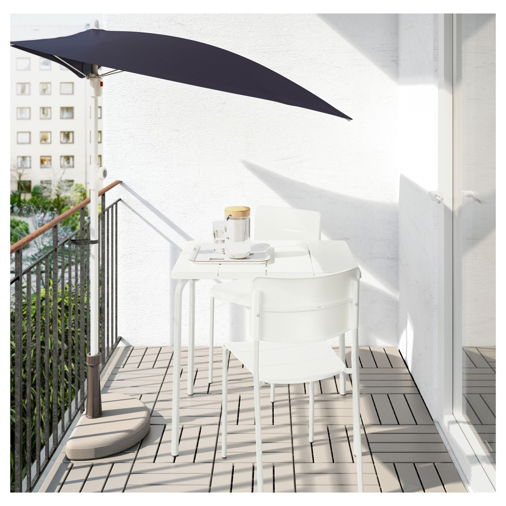 GALVANISED STEEL Outdoor/Balcony White Table + 2 Chairs