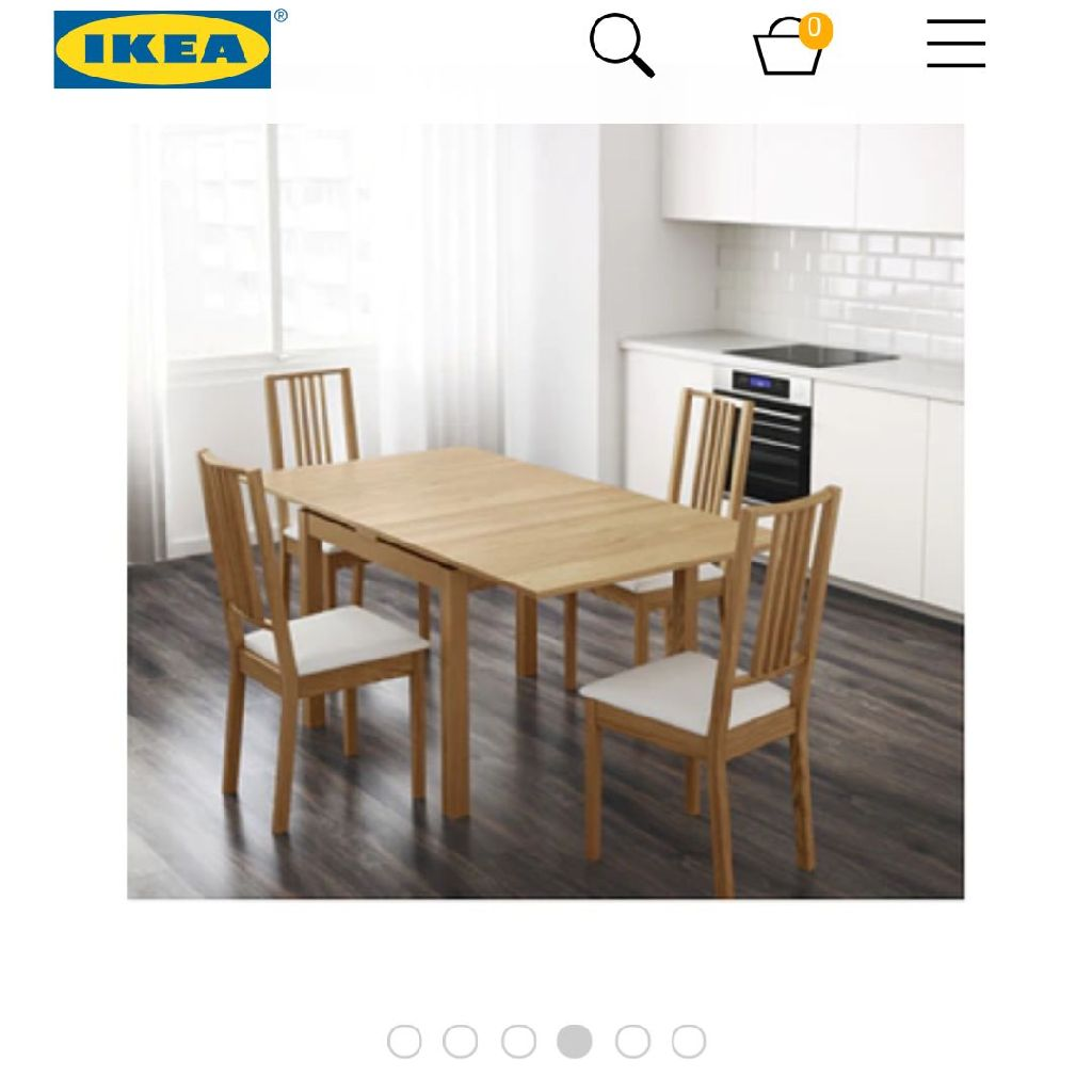 ikea extendable BJURSTA oak dining table and 4 faux leather and chrome chairs