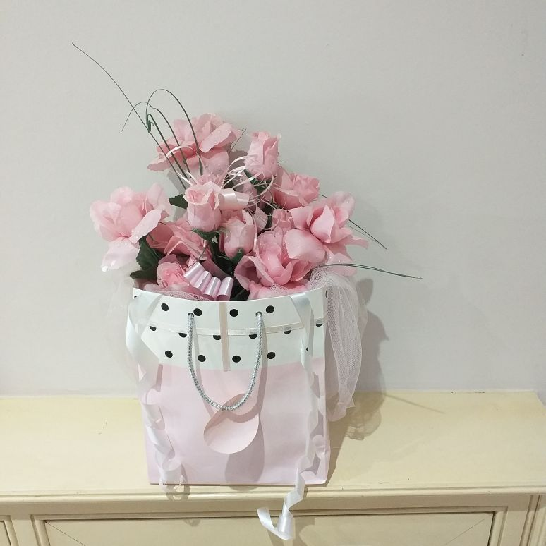 Silk flower gift bag