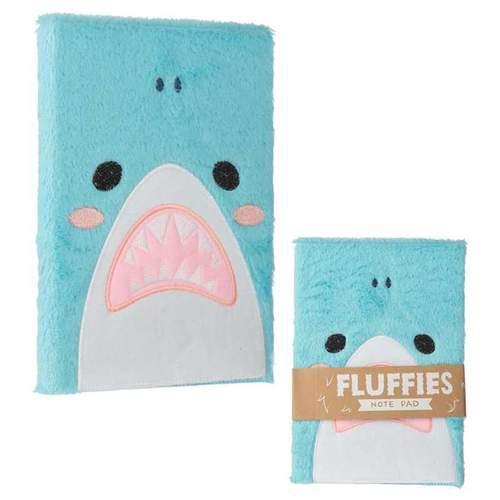 Fluffy plush notebook- shark design