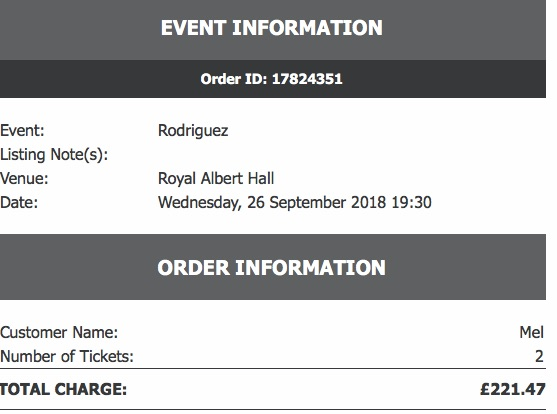 Rodrigues tickets x2